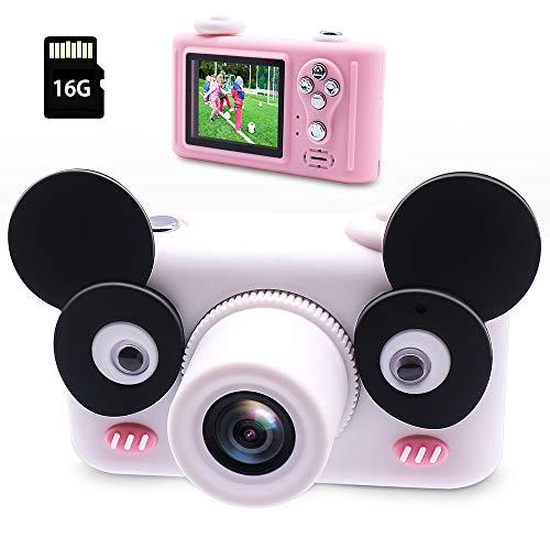 Oxsaytee Kinder Kamera, Digitale Kamera für Kinder 1080P HD & 2.0 Zoll Farbdisplay Videokamera mit 16G TF Karte & Cartoon Schutzthülle, Wiederaufladbare Kinderkamera für Geschenk Party -