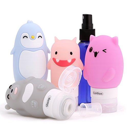 ValourGo Silicone Reiseflaschen-Set (Inhalt: Katze, Bär, Pinguin, Monster, eine Sprayflasche und einen Kulturbeutel) für Shampoo, Seife, Lotion, TSA-genehmigt - Lotion Bar