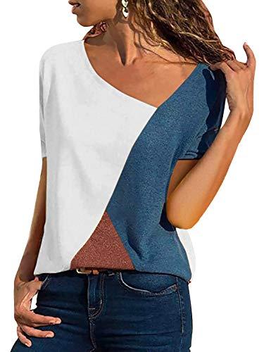 T-Shirt Damen V Ausschnitt Kurzarm Sommer Casual Farbblock T Shirt Top Bluse Oberteil (Kurzarm-Weiß, Large)