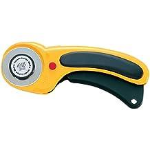 Olfa RTY/DX - Cúter rotativo con cuchilla de 45 mm, botón de bloqueo, y mango ergonómico antideslizante