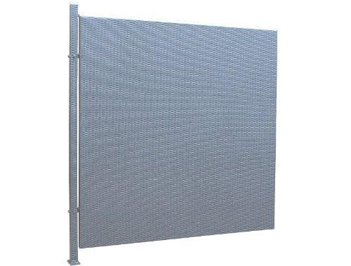 Prime Tech Poly-Rattan Sichtschutz / Zaun, Erweiterungselement 180 cm in anthrazit / grau
