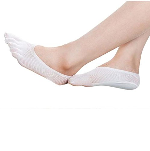 Sannysis 5-Toe Calcetines Yoga Ejercicio Masaje resbalón no del dedo del pie con empuñadura completa (03, blanco)