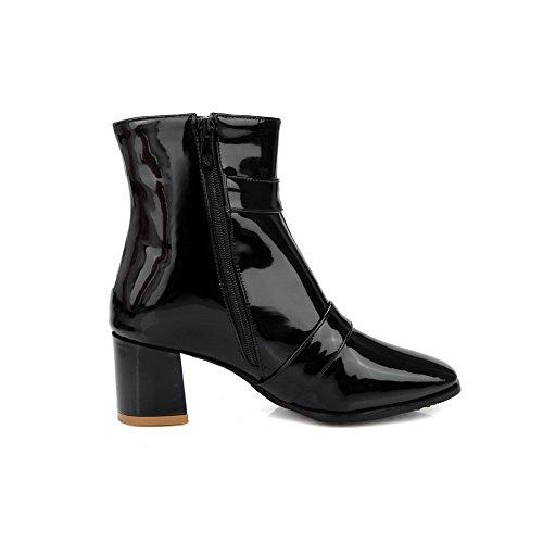 AgooLar Damen Flaum Futter Mittler Absatz Quadratisch Zehe Rein Reißverschluss Stiefel, Weiß, 37