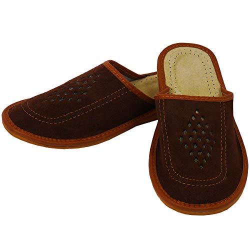 DF-SOFT Herren Herrenpantoffel Pantoffel Hausschuhe Haus Schuhe Leder Pantoffel Lederpantoffel Pantoletten Herren Schlappen Herren Modell 69 (44 EU)