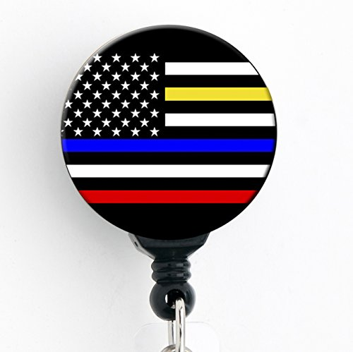 Polizei/Fahrdienstleiter/Feuerwehrmann/EMS American Flagge dünn blau/gelb/rot Line Leben Thema-Retractable Badge Reel mit Swivel Clip und extra langer 86,4cm Schnur-Badge Halter
