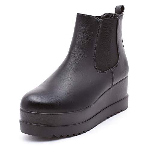 Mforshop stivaletti tronchetto eco pelle scarpe donna chelsea con zeppa platform kl-190 - nero, 37