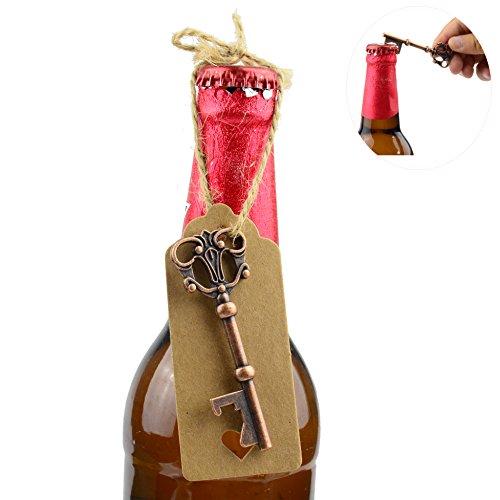 50 Stück Antik Kupfer Hochzeit Gunsten Flaschenöffner Kraftpapier Geschenk Tags mit 98 Fuß Natürliche Jute Twine (Antik Kupfer) -