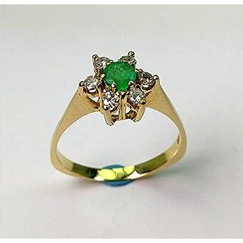 Smaragd-Brillant Ring aus 585 Gelbgold