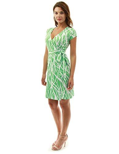 PattyBoutik Damen modisches Alltags Wickelkleid mit V-Ausschnitt und kurzen Ärmeln (grün und weiß 12 S 36/38) -