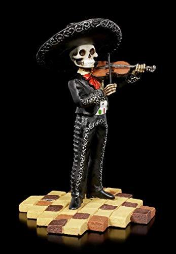 Figuren Shop GmbH Skelett Gothic-Figur - Mariachi Band Geigenspieler   Fantasy-Dekofigur, handbemalt, H 14 cm