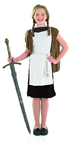 (Mädchen Wikinger Historisch Büchertag Kostüm Kleid Outfit 6-12 Jahre - Braun, 6-8 years)