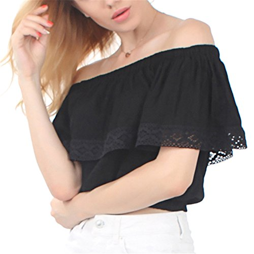 Sexy donna casual chiffon t-shirt senza spalline estive tops crop-top per l'estate pigiama estivi -lath.pin (l, nero)