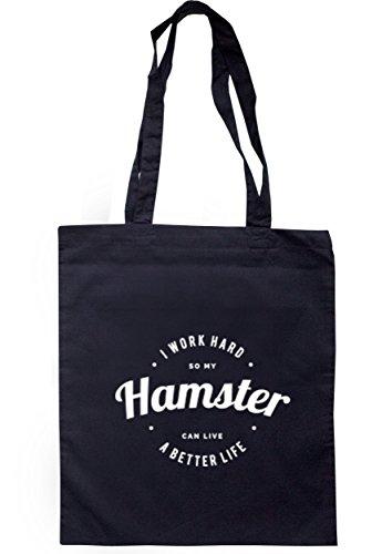 breadandbutterthreads i lavori rigida So My Hamster può vivere una vita migliore Borsa 37,5cm x 42cm con manici lunghi Navy