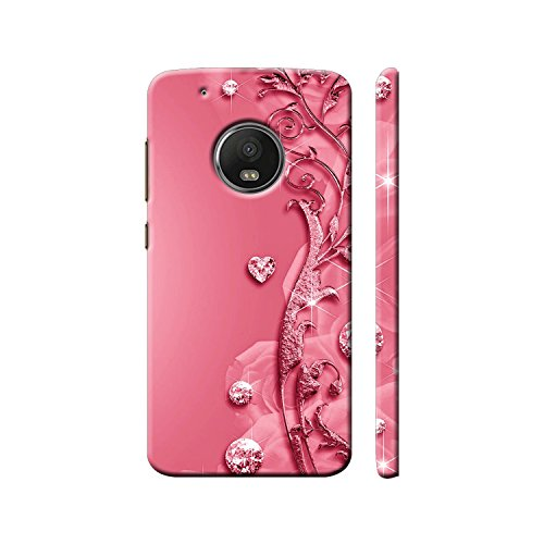 Clapcart Moto G5 Plus Designer Printed Back Cover for Motorola Moto G5 Plus/Moto G 5 Plus - Pink Color (Heart Design for Girls)