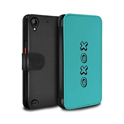 STUFF4 PU Pelle Custodia/Cover/Caso/Portafoglio per HTC Desire 530 / Blu/Abbracci e Baci / Cuore XOXO disegno