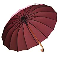 SCJ Long umbrella with folding handles Long umbrella with 16 ribs Durable and strong enough, strong wind and heavy rain Classic style with angled handle Unisex umbrella for men (Color: Brown)