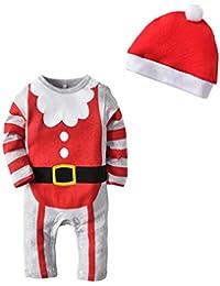 Bambino Pagliaccetto Natale Tuta Unisex Jumpsuit Manica Lunga Body Tutina  con Berretto 703194cfa6ee