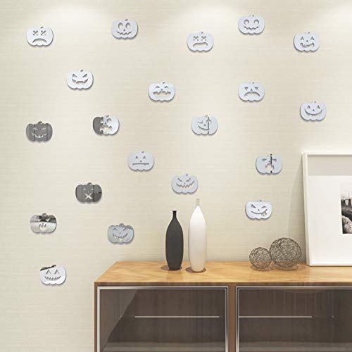 Bluelover 20 Stücke Halloween Kürbis Entfernbare Wandaufkleber Kunst Vinyl Wandbild Room Decor Fenster Tür Aufkleber - Silber