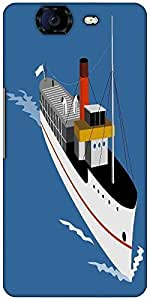 Snoogg Passenger Steamship Boat Designer Protective Back Case Cover For Micromax Canvas Knight A350