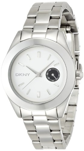 DKNY NY2130 Women's Silver Tone & White Dial Stainless Steel Watch With Black Subdial 36mm