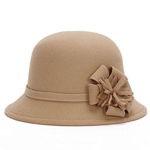 Chapeau Fleur Automne Et En Hiver Mme Imitation Bonnet De Laine Coupole Rétro Chapeau Beige