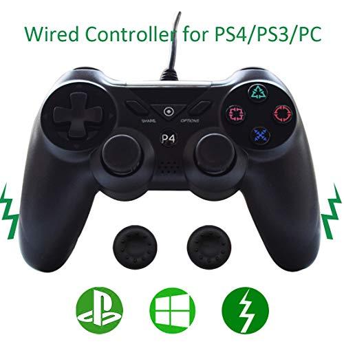 PS4 Controller mit Kabel, Dualshock, 2 m, USB-Joystick / PS4-Controller, Trigger erweitert, kompatibel mit Sony Playstation 4/PS3/Steam Gam mit 2 Daumengriffen