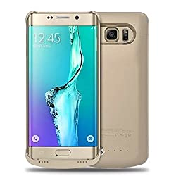 S6 Edge Plus Battery Case, Maxdara 4200 Mah External Backup Battery Charger Cover Case For Samsung Galaxy S6 Edge Plus Rechargeable Power Bank Case - (Gold)