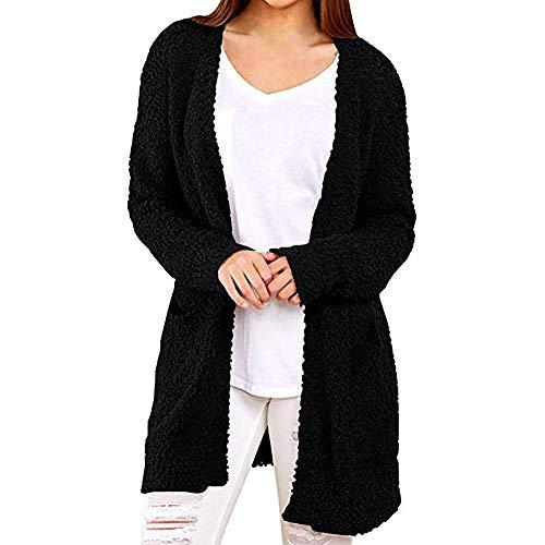 CixNy Strickjacke Damen Lässige Sweatshirt Mitteldicke Solide Winter Warme Wolltaschen Langarm Mantel Outerwear Cardigan (Schwarz, L) -