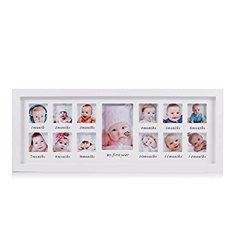 My First Year Baby Keepsake Frame Wooden Kids Picture Frame--Holds 13 Photos L55cm*W22.5cm (White)