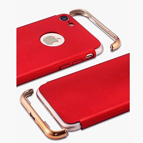 "Coque iPhone 7 Plus, Aohro 3 en 1 Hybride Ultra Mince Plating en PC [Dual Protection] Absorption de choc Anti-scratch Housse Etui Case Cover Pour Apple iphone 7 Plus 5.5""-Or rose Rouge"