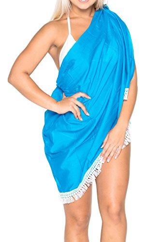 La Leela 100% spiaggia del cotone abito crochet del merletto del sarong coprire 78x39 pollici scuro Blu 2