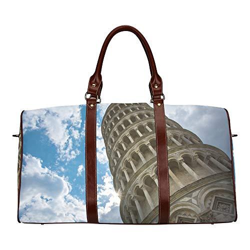 Reisetasche Gekippte Bissar Leaning Tower wasserdichte Weekender-Tasche Reisetasche Frauen Damen-Einkaufstasche Mit Mikrofaser-Leder-Gepäcktasche