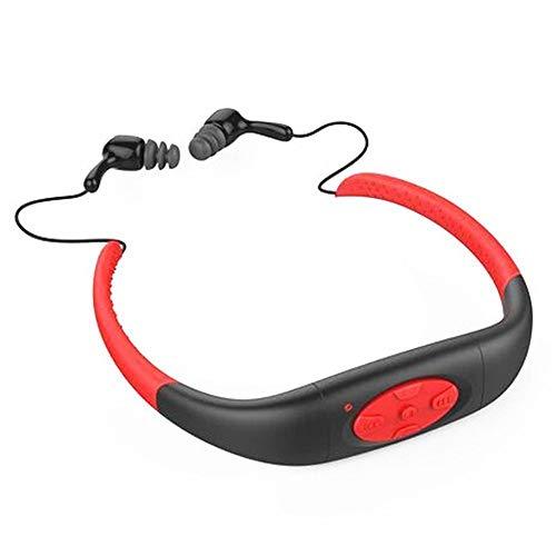 Hipipooo-8GB Speicher wasserdichte Sport MP3 Musik Player Stereo Audio Kopfhörer Unterwasser Neckband Schwimmen Tauchen mit FM Radio Headset(Rot) Sony Headset Radios