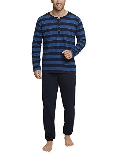 Schiesser Herren Zweiteiliger Schlafanzug Anzug Lang m. Knopfleiste Blau (Royal 819), X-Large (Herstellergröße: 054)