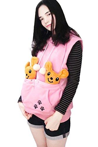dressfan Hoodies Ärmellos Katze Hundehalter Känguru Hoodie mit großer Tasche Pullover Mädchen Pink