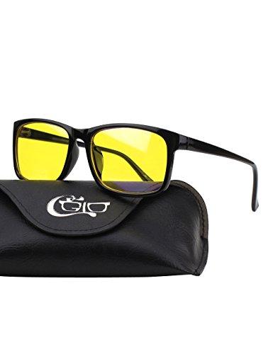 ht-blockierende Brille, Anti Blendung Müdigkeit Blockt Kopfschmerzen Augenschmerzen, Sicherheitsbrille für Computer / Telefon / Tablets, Vintage Rechteckiger Rahmen, Gelbe Gläser (Gelbe Gläser)