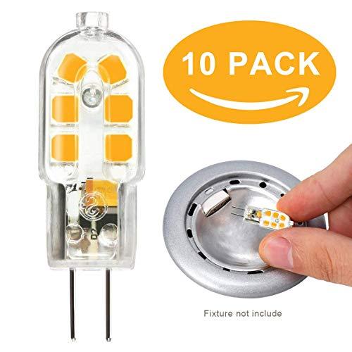 Bombillas LED G4 2W Bombilla halógena equivalente de 10W 15w 20w bombillas de campana extractora de cocina/Luces de alacena Reemplazo, AC/DC 12V Blanco cálido 3000K 10 Pack