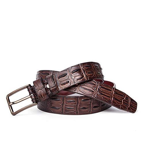 QARYYQ Cinturón Casual De Piel De Cocodrilo con Cinturón De Cuero De Los Hombres De Negocios. El cinturón (Color : Brown)