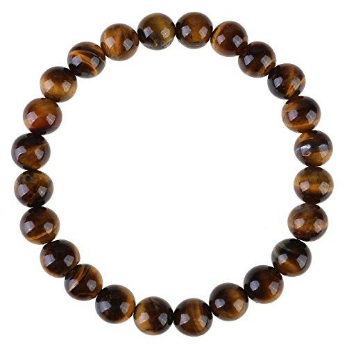 JOVIVI 8mm-Bracelet en Pierre Oeil de Tigre Jaune Perles d'Energie Pierre Précieuse Extensible Elastique Tibétain Bouddhiste Unisexe