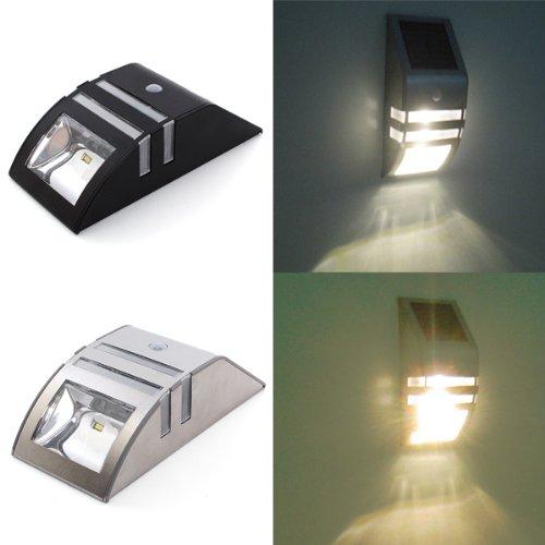 Bluelover Energia solare in acciaio inox evidenziare induzione PIR LED WallLight-Nero