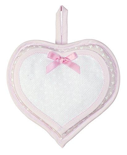 Filet - fiocco nascita bambina cuore i esterno 100% cotone interno 100% poliestere i prodotto realizzato in italia i da appendere - bianco, rosa
