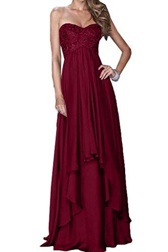 ivyd ressing Donna alla moda scollo a cuore A-Line di prom abito Fest Chiffon pizzo Party vestito abito da sera rosso vivo