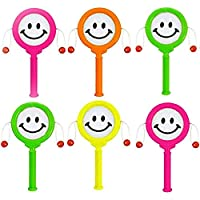 Gifts 4 All Occasions Limited 12 Pack of Mini Smiley Hand Drum Birthday Party Toys Loot Bag Pinata Stocking Fillers, Multi