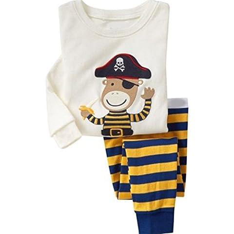 Milanao bambini da ragazzo, 2 pezzi, 100% cotone a manica lunga, motivo T-Shirt & Pajama Set 2T-Pantaloni taglia 7