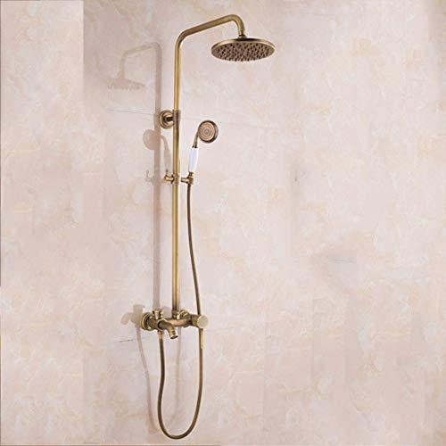 GWFVA Badezimmer-Brausebatteriesatz, Duschset im europäischen Retro-Stil, edel, vielseitig, kupferfarben, Badezimmerdusche