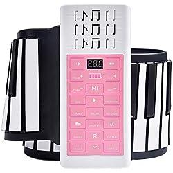 XLLLL Main Rouleau Piano 88 Touches Portable Organe Électronique Ménage Pliant Épaissi Clavier en Silicone Enfants Adulte Débutant Instrument De Musique,Pink