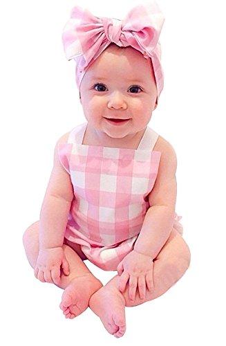 Baby Mädchen Sommer Plaid Bodys Overall + Stirnband Bekleidungsset (70 für 6 monate, pink)