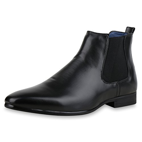SCARPE VITA Herren Chelsea Boots Leder-Optik Elegante Freizeit Schuhe 161069 Schwarz 46