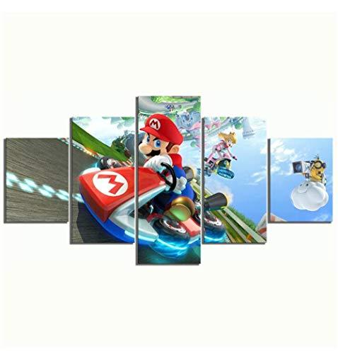 LCCWLH Leinwanddrucke 5 Stück Spielposter Kunst Mario Kart 8 Cartoon Wandbilder Hd Leinwand Kunst Home Decoration (Size B) No Frame
