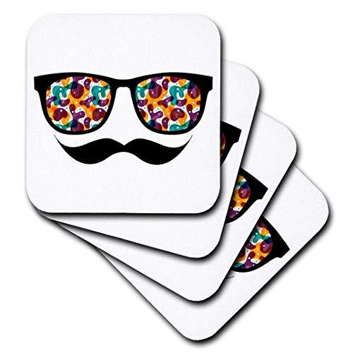 3dRose Dooni Designs Geek Designs-Hipster trendigen Retro-Farbe Blobs Shades Sonnenbrille und Schnurrbart-Untersetzer, set-of-8-Soft